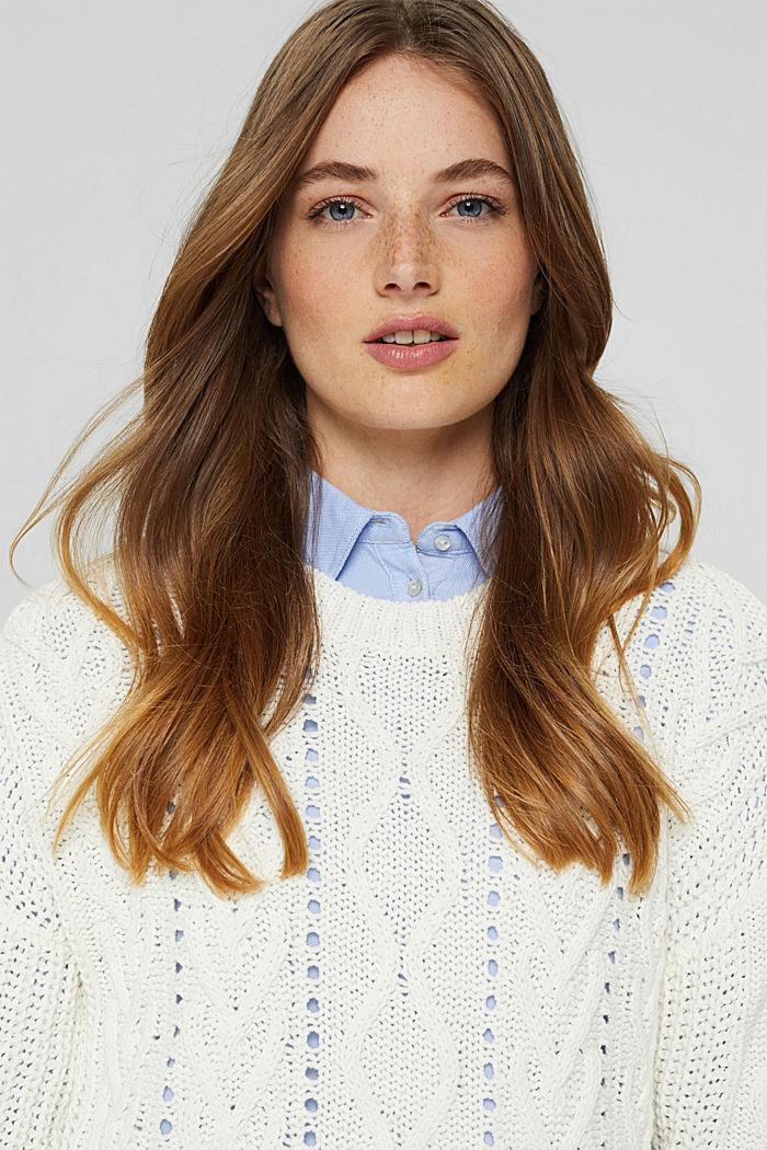 Zopfstrick-Pullover aus 100% Bio-Baumwolle, OFF WHITE, detail image number 5