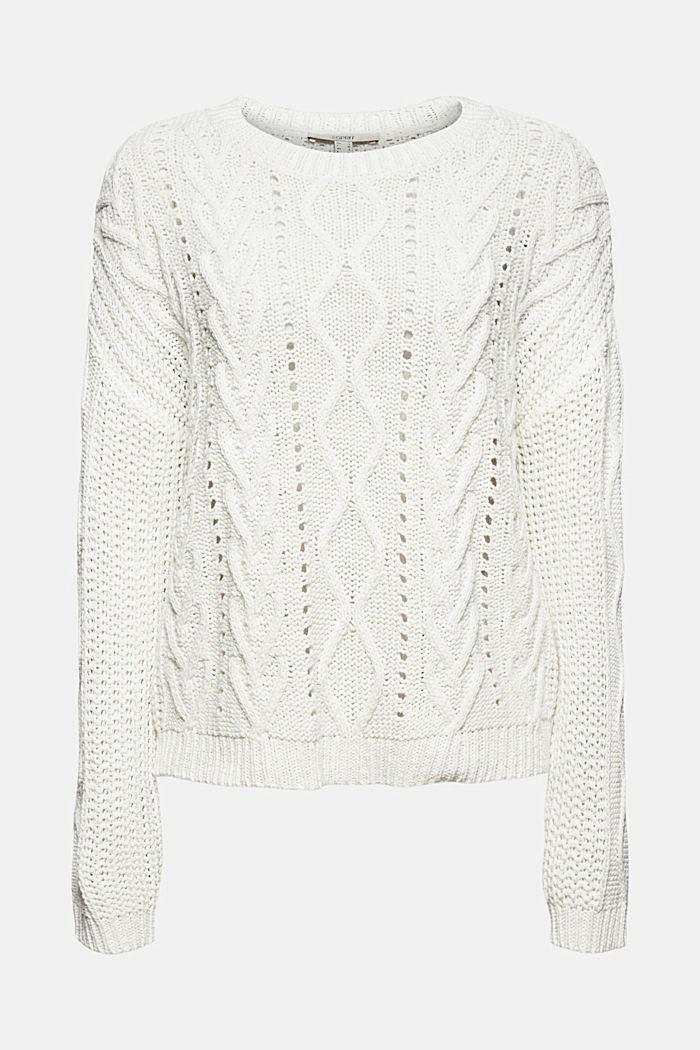 Zopfstrick-Pullover aus 100% Bio-Baumwolle, OFF WHITE, detail image number 6