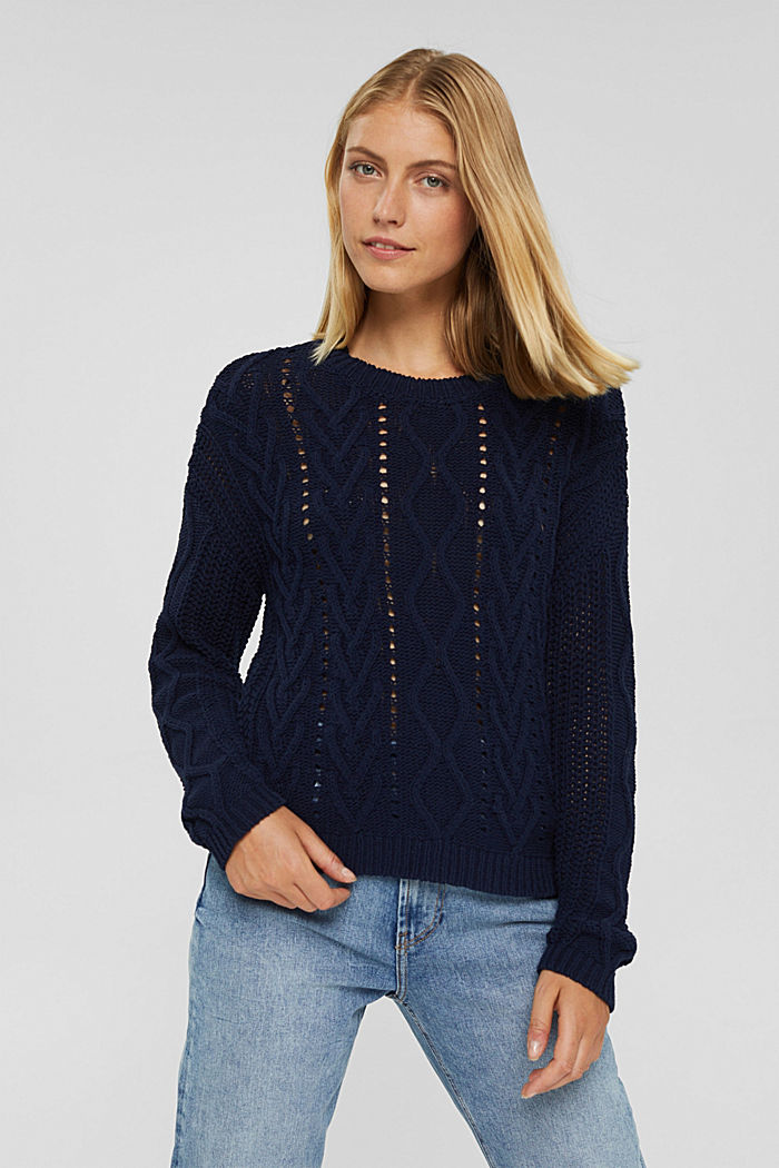 Zopfstrick-Pullover aus 100% Bio-Baumwolle, NAVY, detail image number 0