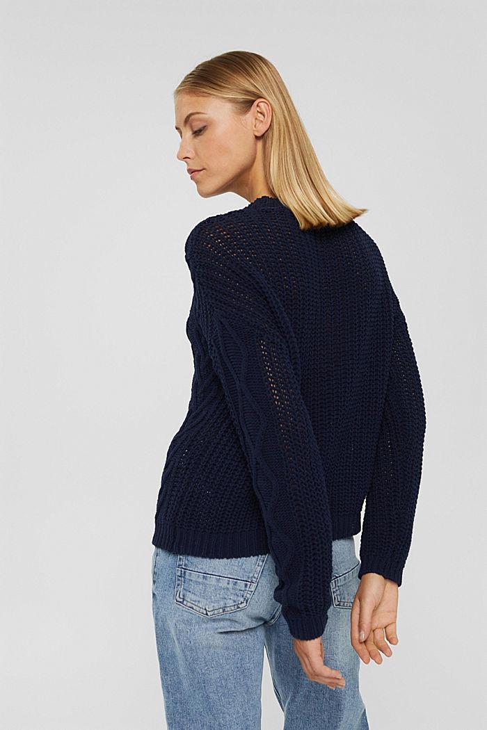 Zopfstrick-Pullover aus 100% Bio-Baumwolle, NAVY, detail image number 3