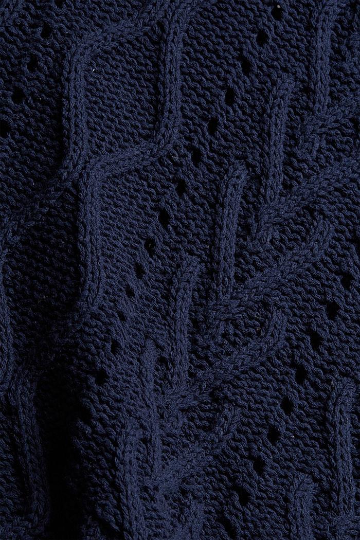 Zopfstrick-Pullover aus 100% Bio-Baumwolle, NAVY, detail image number 4