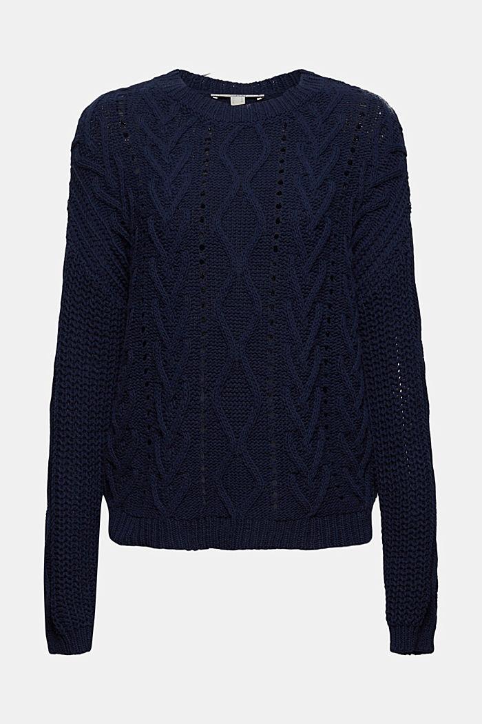Zopfstrick-Pullover aus 100% Bio-Baumwolle