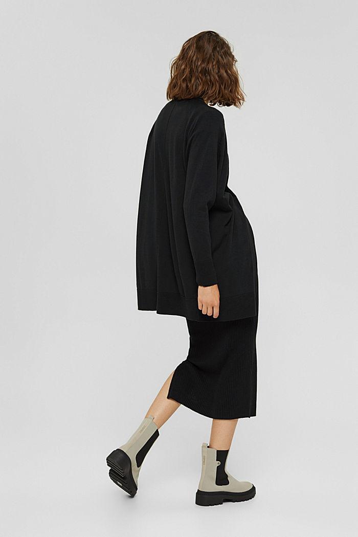 Offener Cardigan aus 100% Pima-Baumwolle, BLACK, detail image number 3