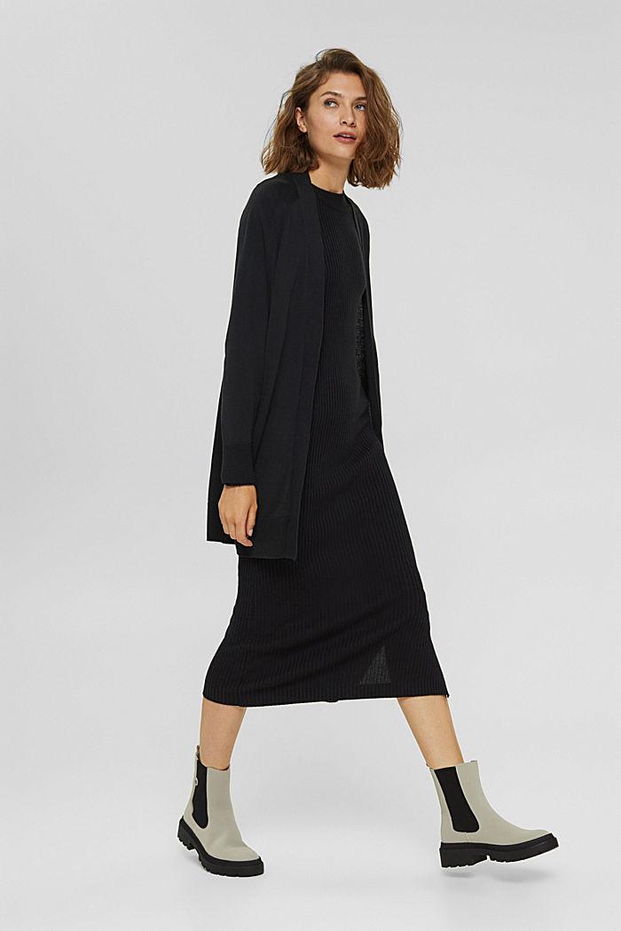 Offener Cardigan aus 100% Pima-Baumwolle, BLACK, detail image number 1