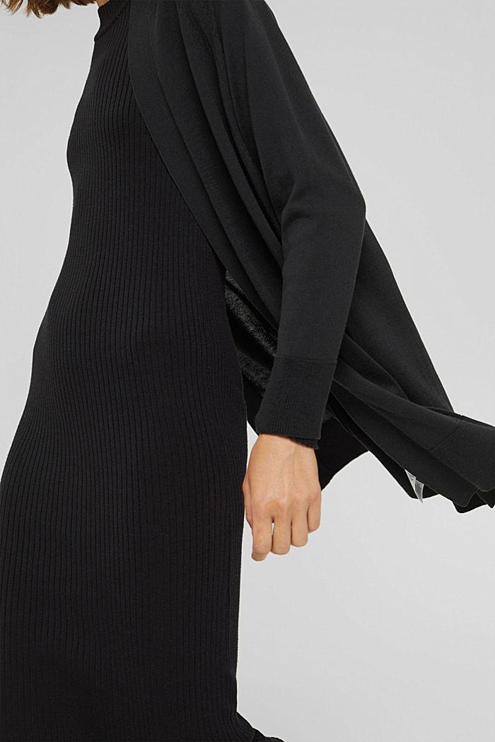 Offener Cardigan aus 100% Pima-Baumwolle, BLACK, detail image number 2