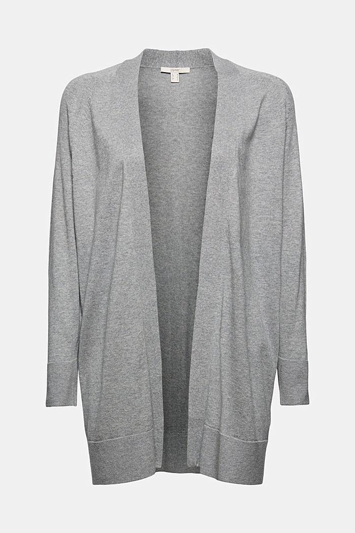 Cardigan ouvert, 100% coton Pima, MEDIUM GREY, detail image number 6