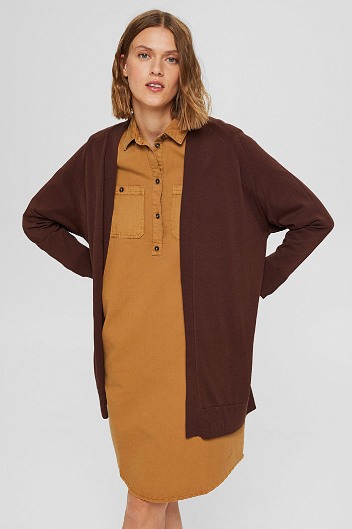 Offener Cardigan aus 100% Pima-Baumwolle, RUST BROWN, detail image number 0