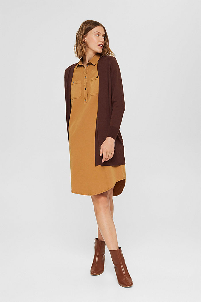Offener Cardigan aus 100% Pima-Baumwolle, RUST BROWN, detail image number 1