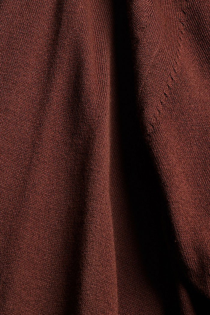 Offener Cardigan aus 100% Pima-Baumwolle, RUST BROWN, detail image number 4