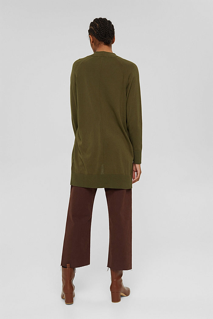 Offener Cardigan aus 100% Pima-Baumwolle, DARK KHAKI, detail image number 3