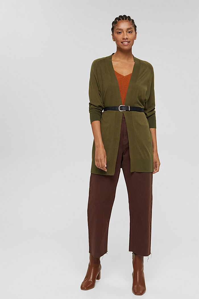 Offener Cardigan aus 100% Pima-Baumwolle, DARK KHAKI, detail image number 1