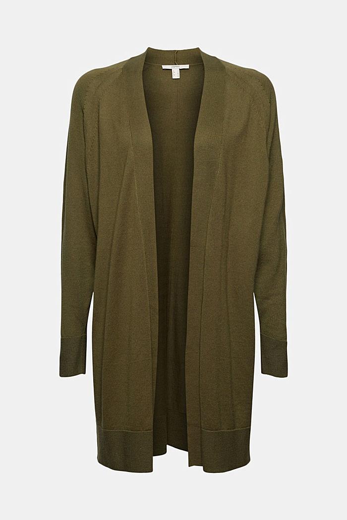 Offener Cardigan aus 100% Pima-Baumwolle, DARK KHAKI, detail image number 5