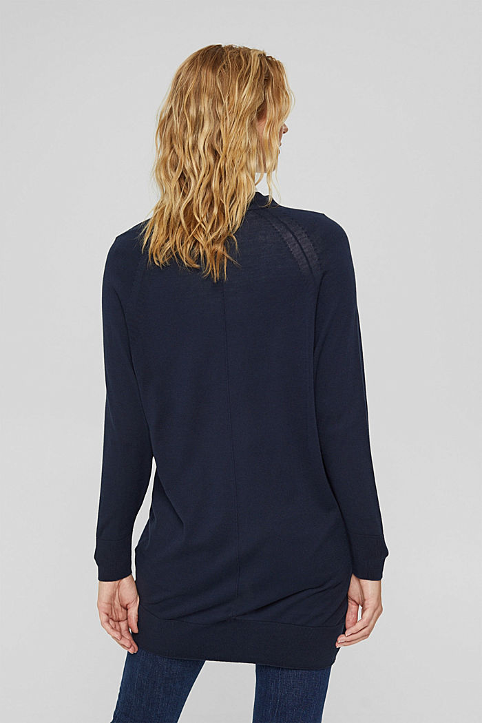Open cardigan made of 100% pima cotton, NAVY, detail image number 3