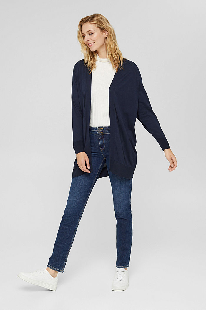 Open cardigan made of 100% pima cotton, NAVY, detail image number 1