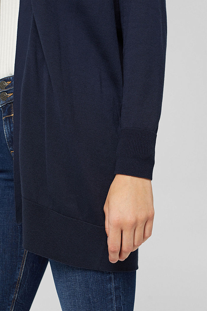 Open cardigan made of 100% pima cotton, NAVY, detail image number 2