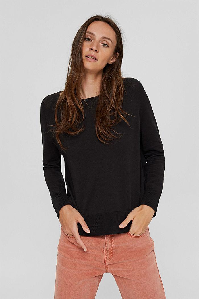 Pullover aus 100% Baumwolle, BLACK, detail image number 0