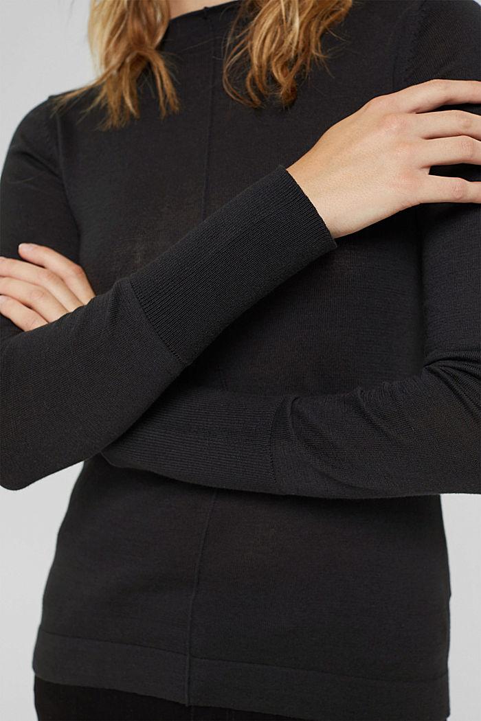 Pull-over à col droit, 100% coton Pima, BLACK, detail image number 2