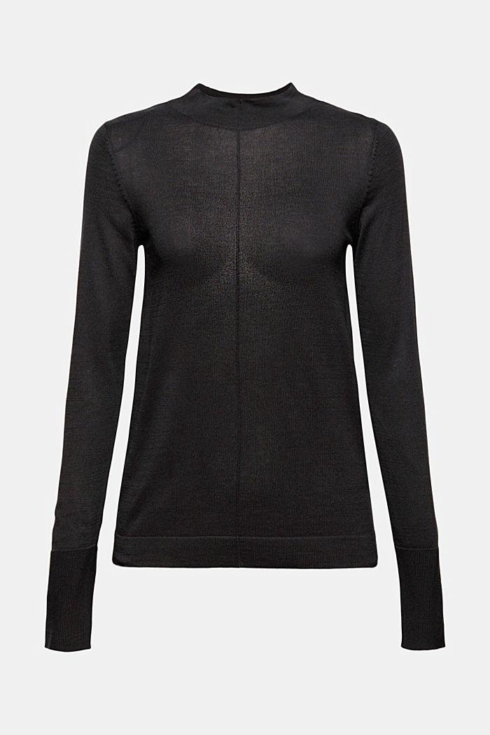 Pull-over à col droit, 100% coton Pima, BLACK, detail image number 6
