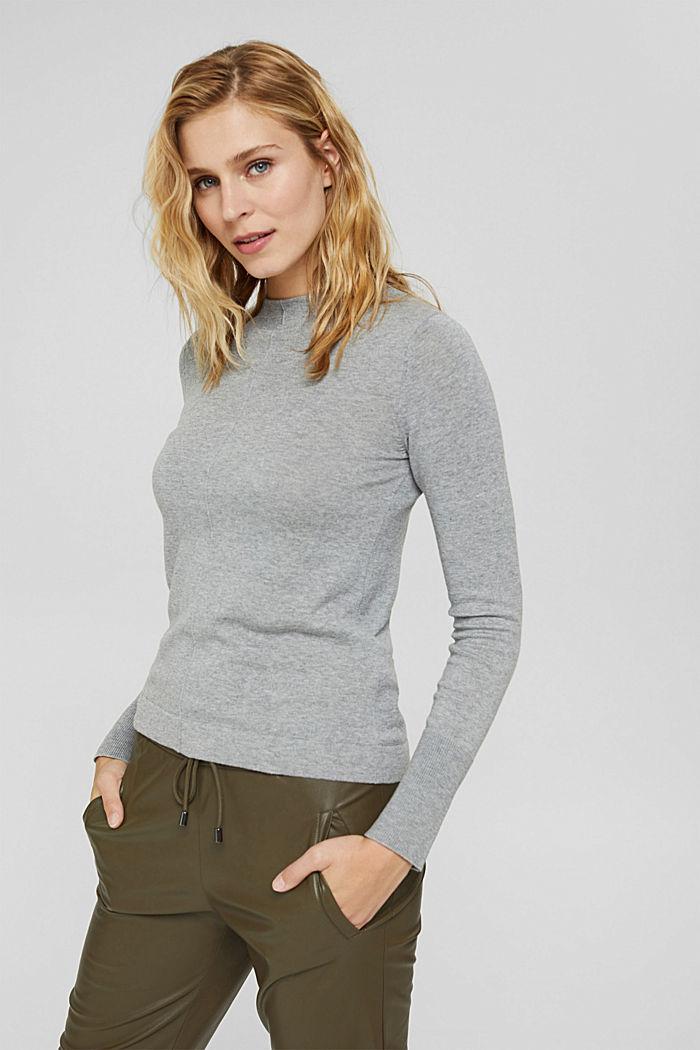 Pullover mit Stehkragen, 100% Pima Cotton, MEDIUM GREY, detail image number 0