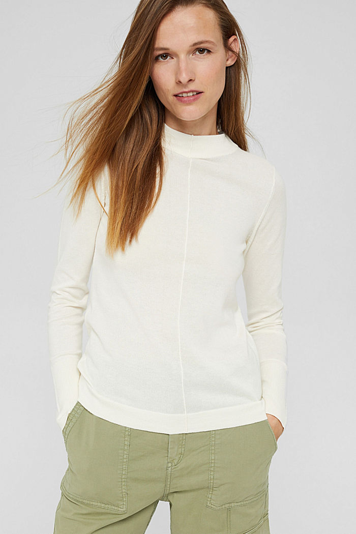 Jumper with band collar, 100% pima cotton, OFF WHITE, detail image number 0