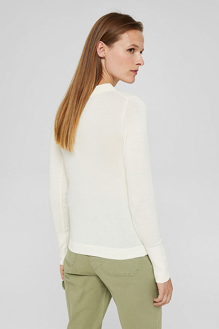 Jumper with band collar, 100% pima cotton, OFF WHITE, detail image number 3