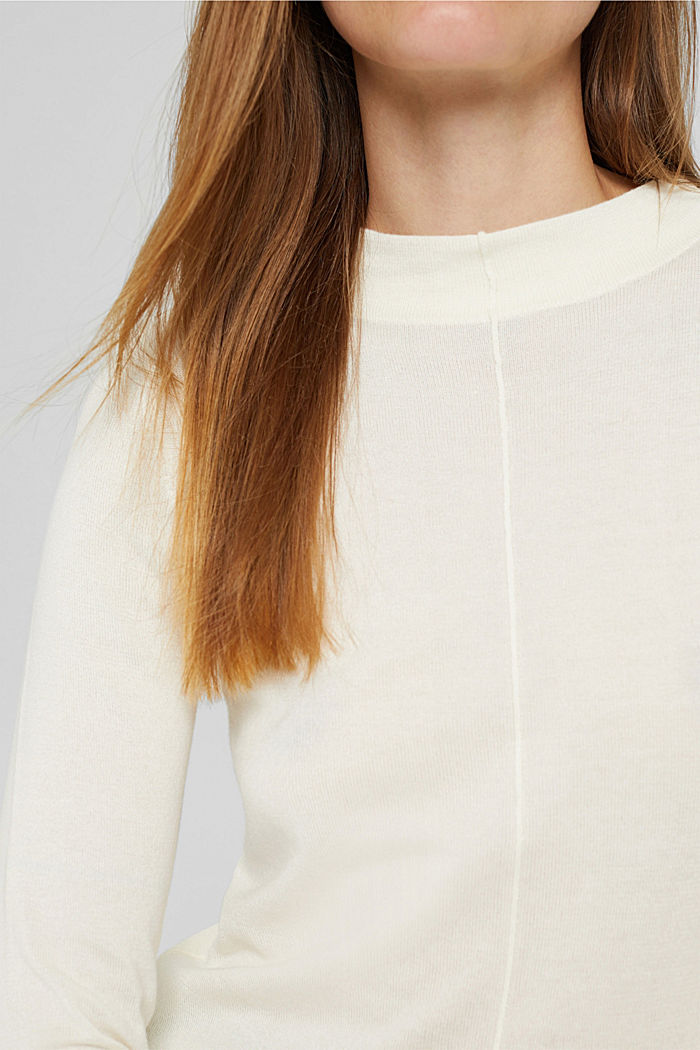 Jumper with band collar, 100% pima cotton, OFF WHITE, detail image number 2