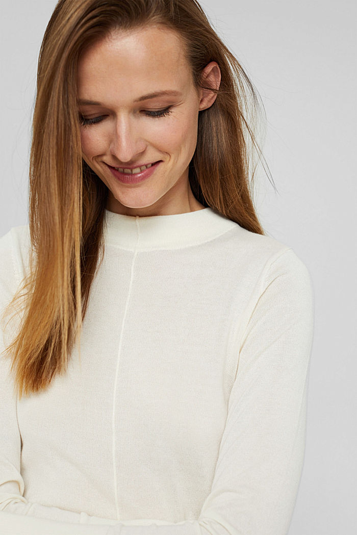 Jumper with band collar, 100% pima cotton, OFF WHITE, detail image number 5
