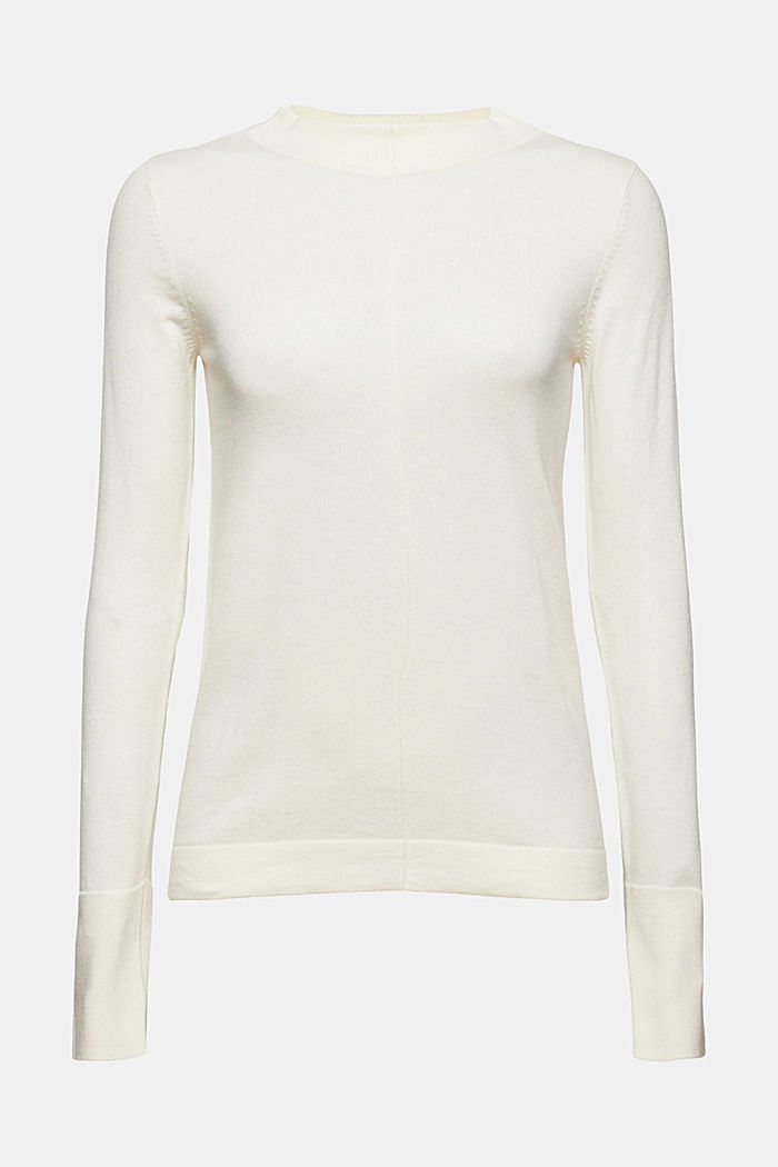 Jumper with band collar, 100% pima cotton, OFF WHITE, detail image number 6