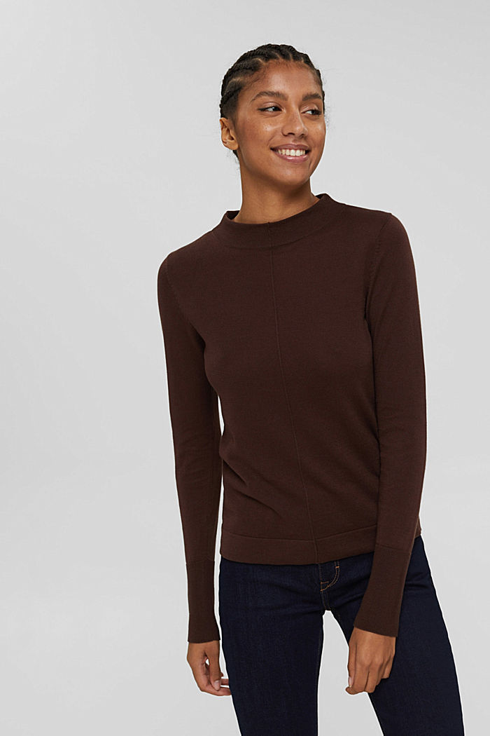 Jumper with band collar, 100% pima cotton, RUST BROWN, detail image number 0