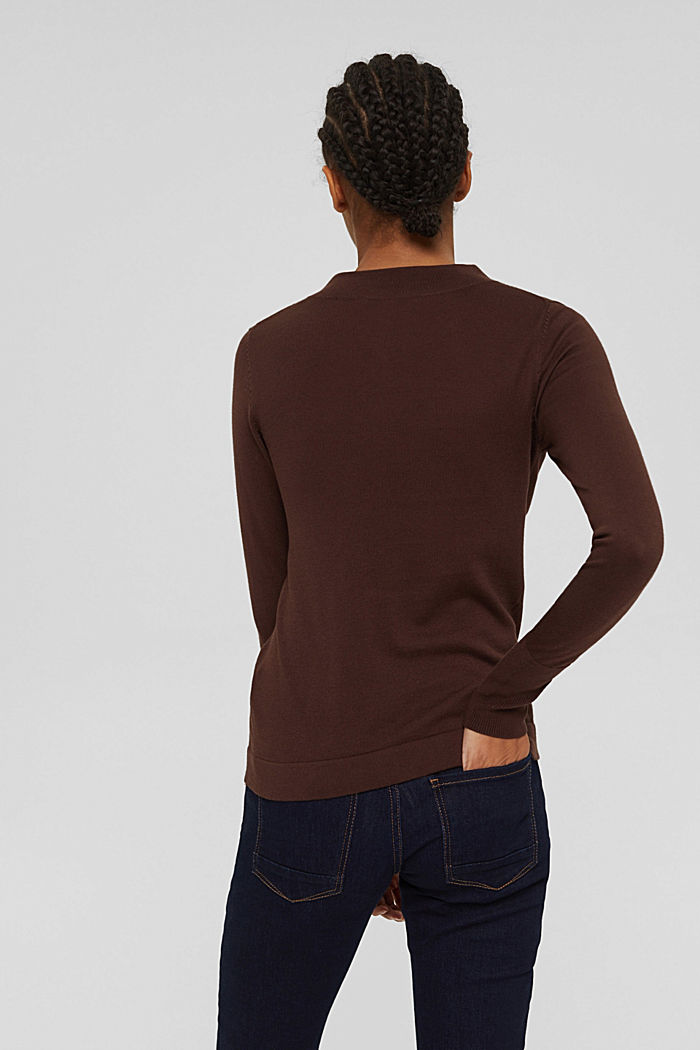 Jumper with band collar, 100% pima cotton, RUST BROWN, detail image number 3