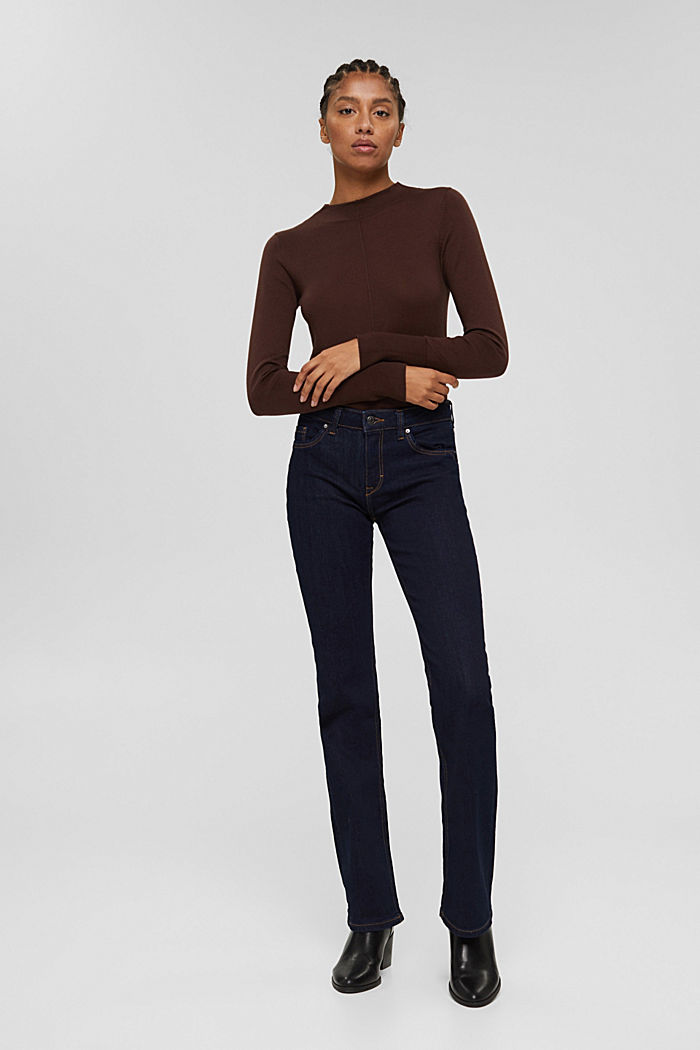 Jumper with band collar, 100% pima cotton, RUST BROWN, detail image number 1