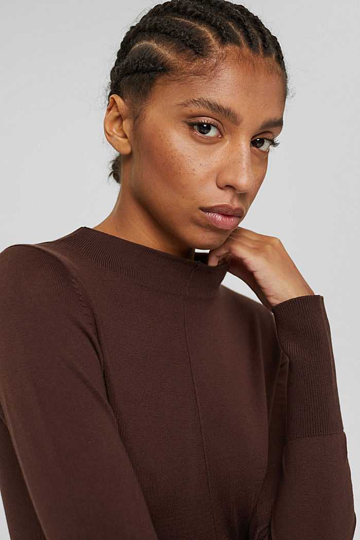 Jumper with band collar, 100% pima cotton, RUST BROWN, detail image number 5