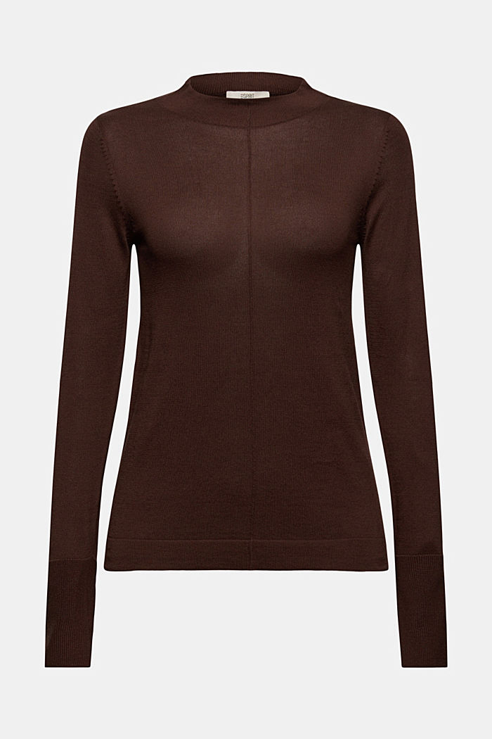 Jumper with band collar, 100% pima cotton, RUST BROWN, detail image number 6