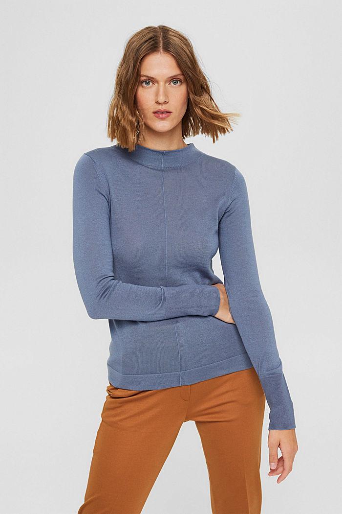 Pullover mit Stehkragen, 100% Pima Cotton, GREY BLUE, detail image number 2
