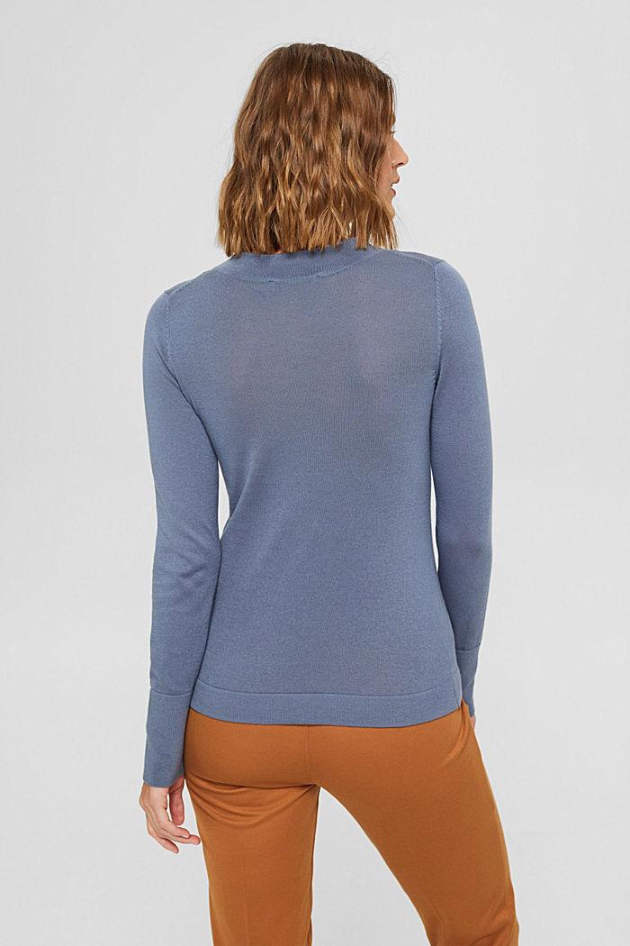 Pullover mit Stehkragen, 100% Pima Cotton, GREY BLUE, detail image number 3