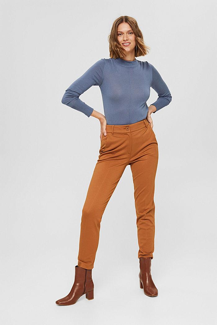 Pullover mit Stehkragen, 100% Pima Cotton, GREY BLUE, detail image number 6