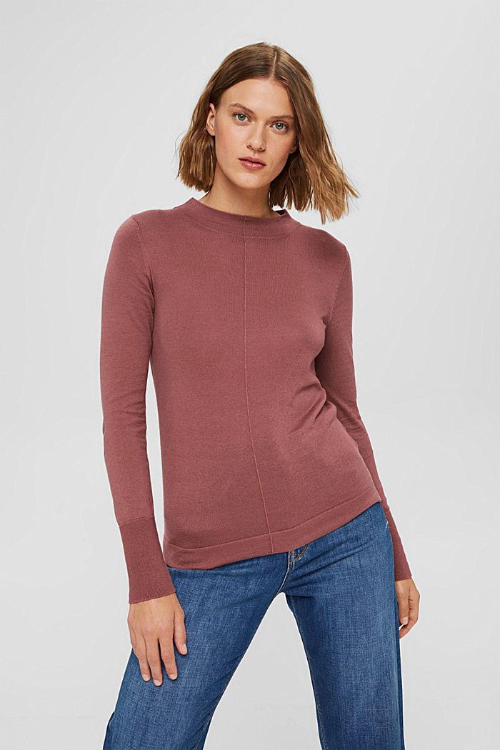 Pullover mit Stehkragen, 100% Pima Cotton, DARK OLD PINK, detail image number 0