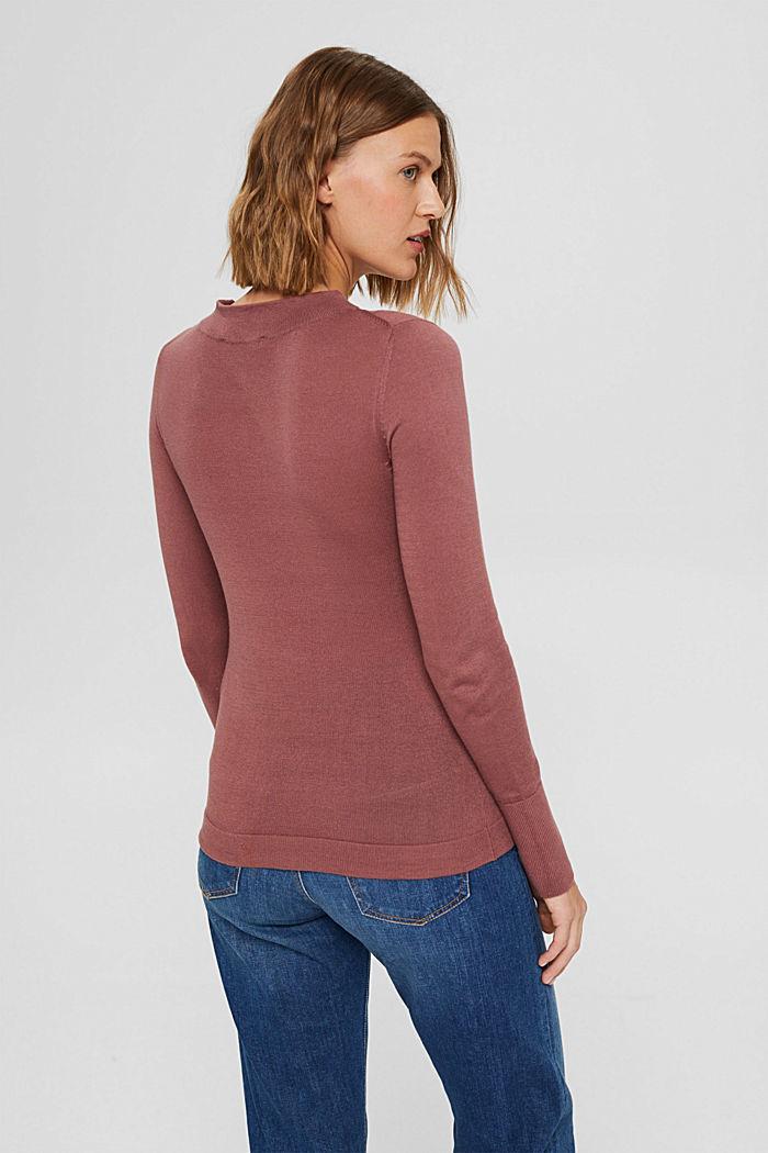Pullover mit Stehkragen, 100% Pima Cotton, DARK OLD PINK, detail image number 3