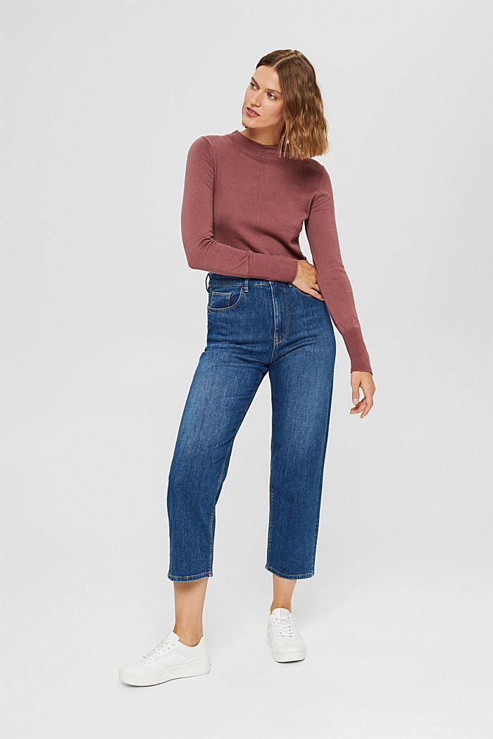 Pullover mit Stehkragen, 100% Pima Cotton, DARK OLD PINK, detail image number 1