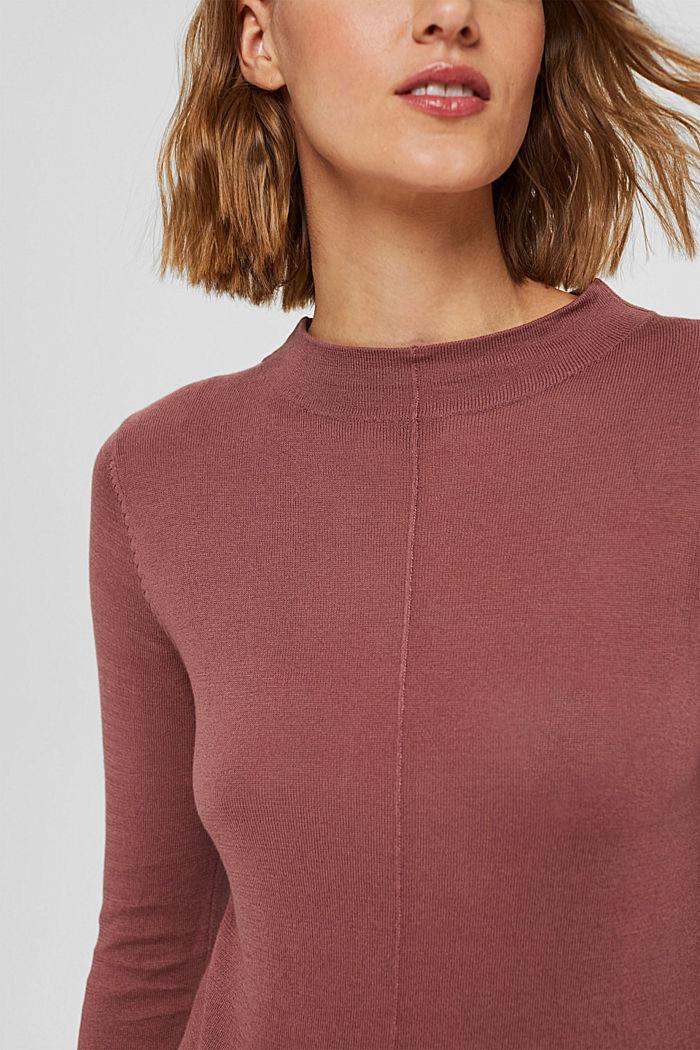 Pullover mit Stehkragen, 100% Pima Cotton, DARK OLD PINK, detail image number 2