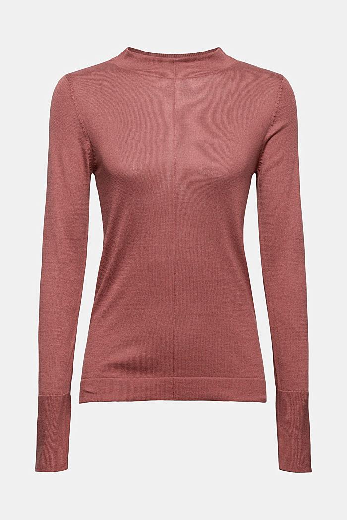 Pullover mit Stehkragen, 100% Pima Cotton, DARK OLD PINK, detail image number 5
