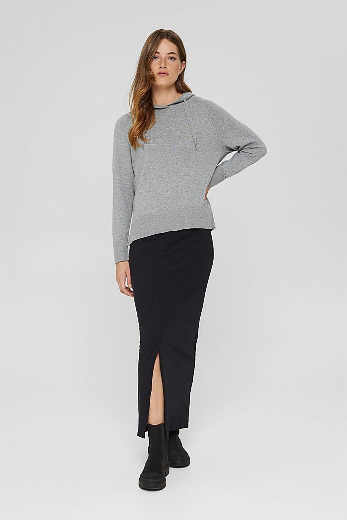 Pullover in Hoodie-Optik aus Pima-Baumwolle, MEDIUM GREY, detail image number 1