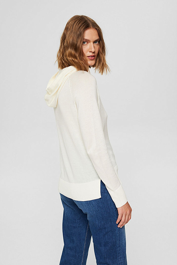 Hoodie-style jumper in Pima cotton, OFF WHITE, detail image number 3