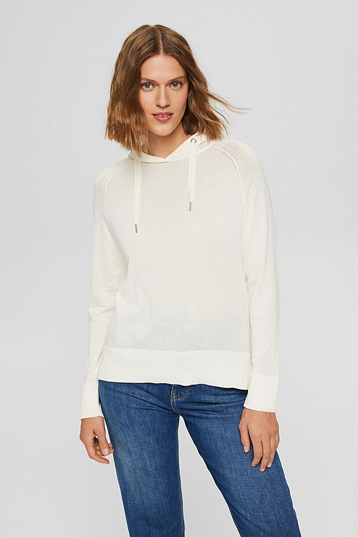 Hoodie-style jumper in Pima cotton, OFF WHITE, detail image number 5
