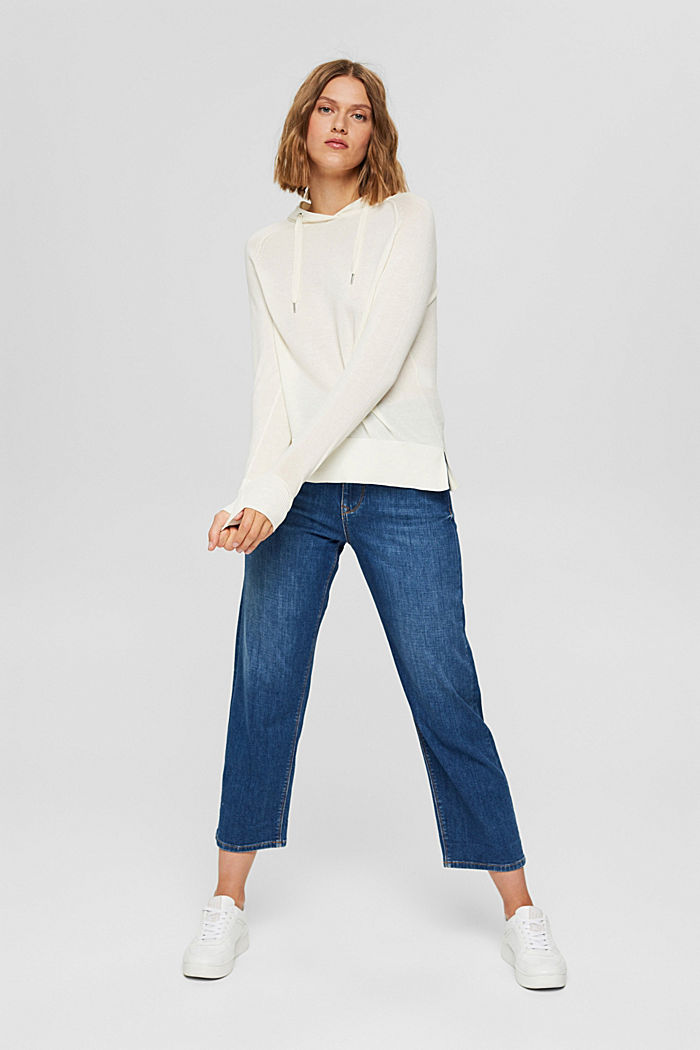 Hoodie-style jumper in Pima cotton, OFF WHITE, detail image number 7