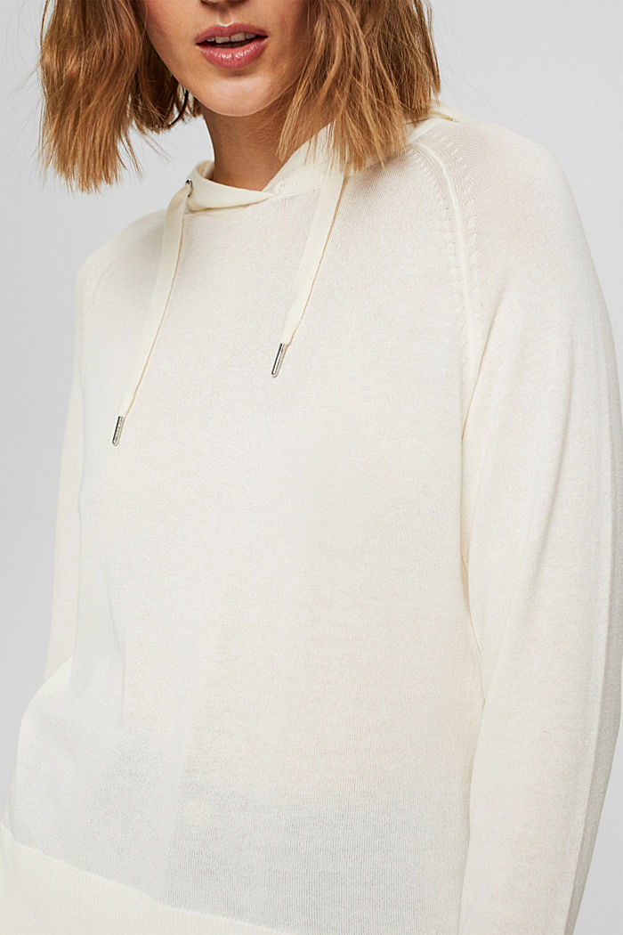 Hoodie-style jumper in Pima cotton, OFF WHITE, detail image number 2