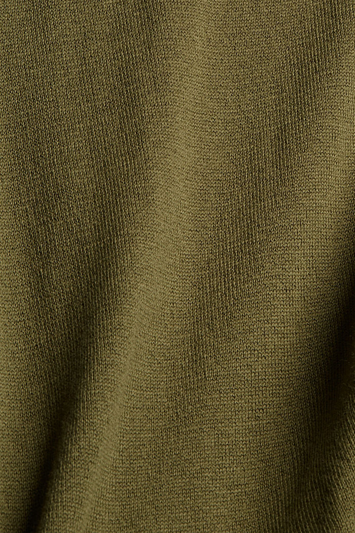 Pull-over en coton Pima façon sweat à capuche, DARK KHAKI, detail image number 4
