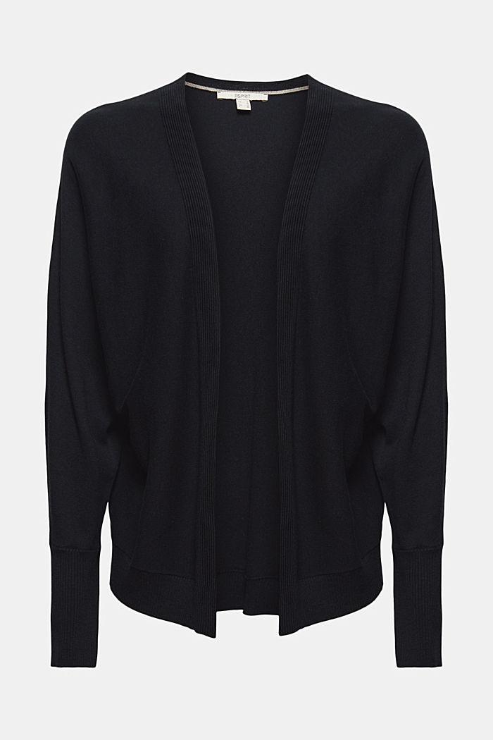 Cárdigan abierto con mangas murciélago, mezcla de algodón ecológico, BLACK, detail image number 5