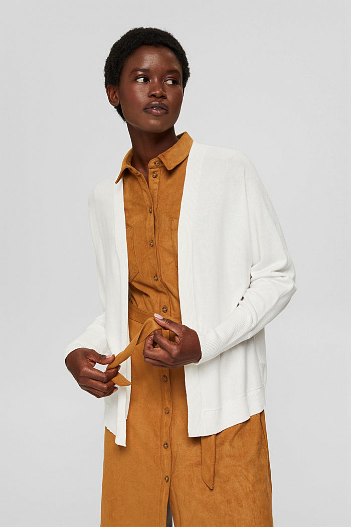 Open-fronted batwing cardigan, organic cotton blend, OFF WHITE, detail image number 0