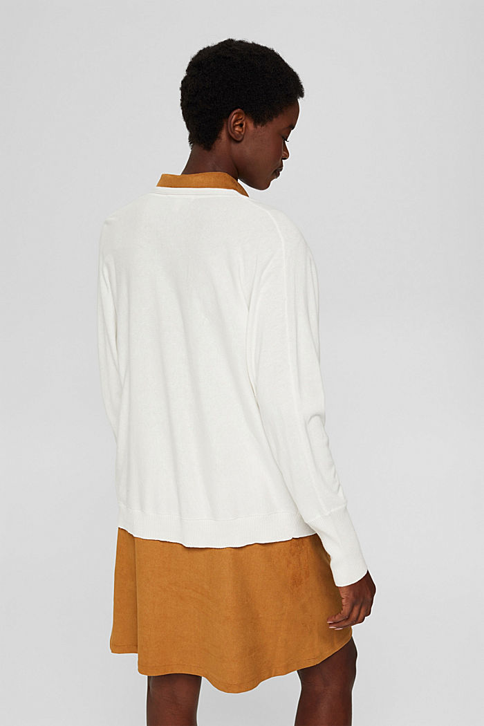Open-fronted batwing cardigan, organic cotton blend, OFF WHITE, detail image number 3